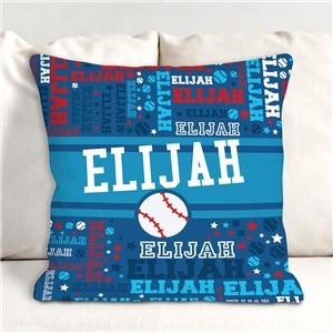 Personalized Word Art Throw Pillow | Gifts For Kids Who Love Sports