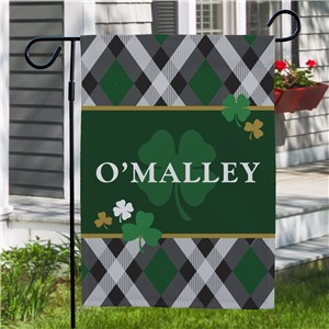 Irish Plaid Personalized Garden Flag