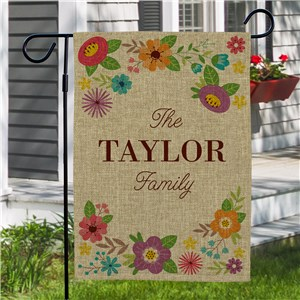 Floral Burlap Garden Flags | Personalized Garden Flags
