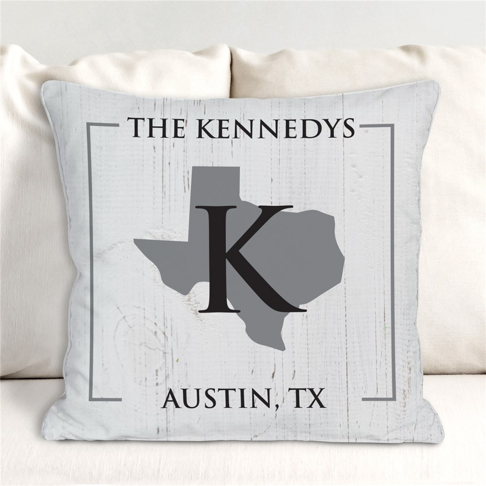 Personalized Throw Pillow | State and Name Pillow