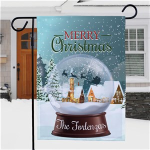 Personalized Merry Christmas Flag | Snowglobe Christmas Decor