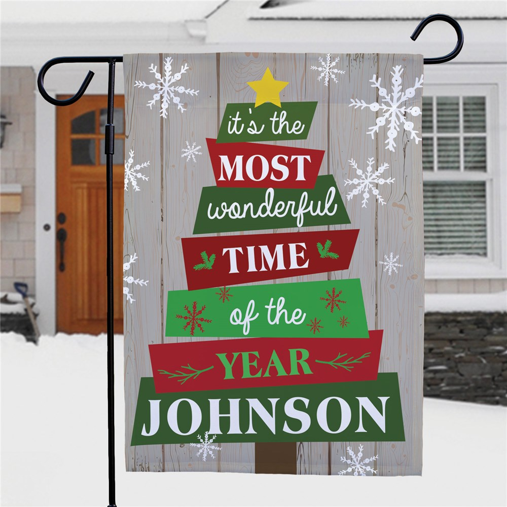 Personalized Holiday Flags | Rustic Christmas Decor