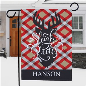 Deer and Plaid Christmas Garden Flag | Personalized Reindeer Garden Flag