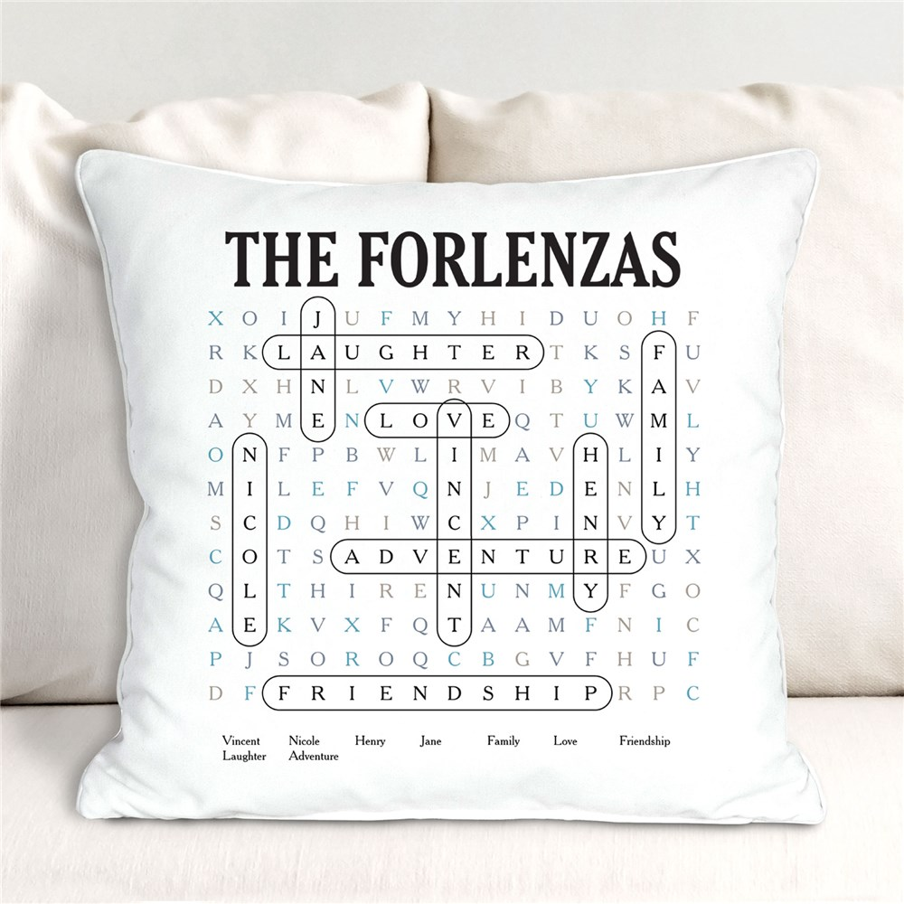 Personalized Word Search Throw Pillow |Gifts for Word Search Lovers