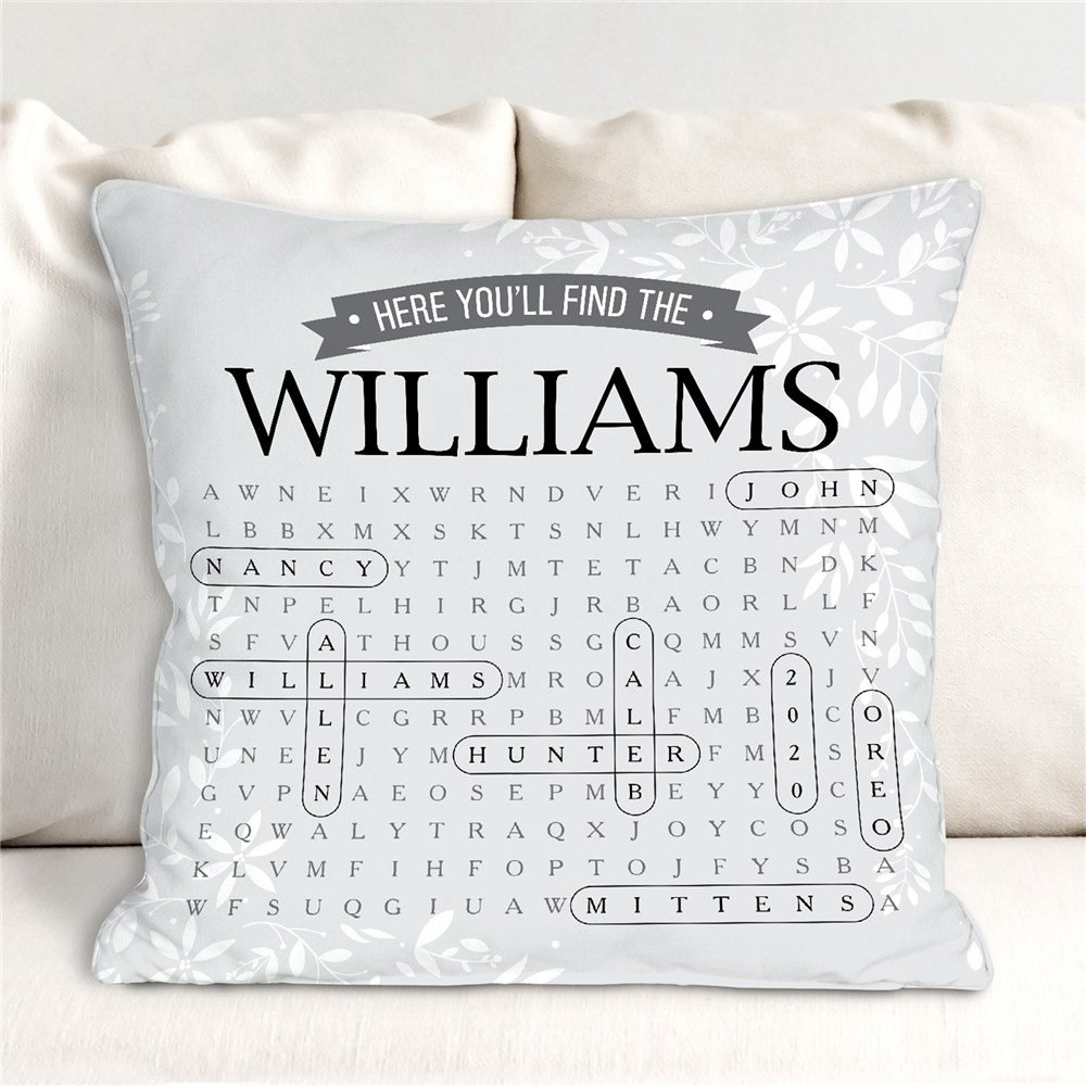 Personalized Word Search Throw Pillow | Word Search Gifts