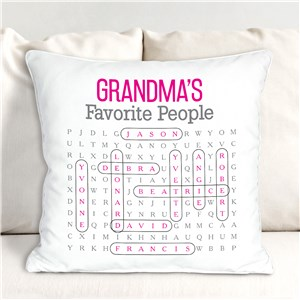Personalized Word Search Throw Pillow | My Favorite Word Search Pillow