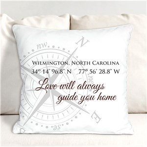 Personalized Love Will Guide You Home Coordinates Throw Pillow 830156863X