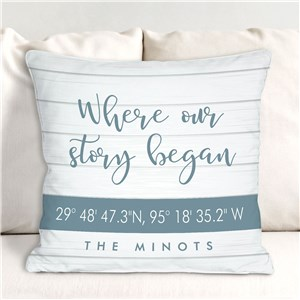 Personalized Housewarming Gifts | Pillow With Geographic Coordinates