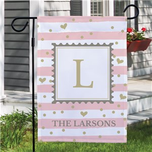 Valentine's Day Flag with Family Name | Valentine Flag with Initial