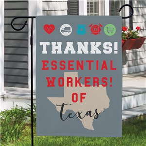 Personalized Thanks Essential Workers State Garden Flag