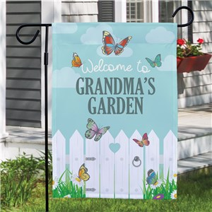 Personalized White Picket Fence Garden Flag