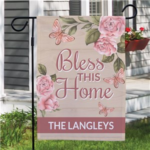 Personalized Bless This Home Pink Floral Garden Flag