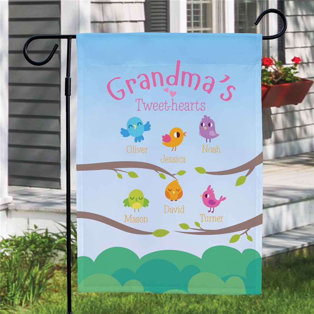 Personalized Grandma's Tweet-Hearts Garden Flag