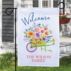 Personalized Wheelbarrow Filled With Flowers Garden Flag