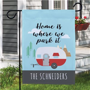 Personalized Home Is Where We Park It Garden Flag