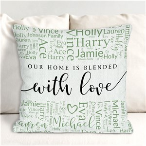 Personalized Blended Family Word Art Throw Pillow