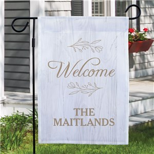 Personalized Welcome with Branches Garden Flag
