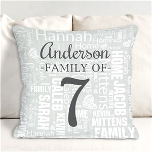 Personalized Number of Family Members Word Art Throw Pillow