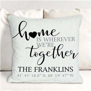 Personalized Coordinates Home Is Whenever We're Together Throw Pillow