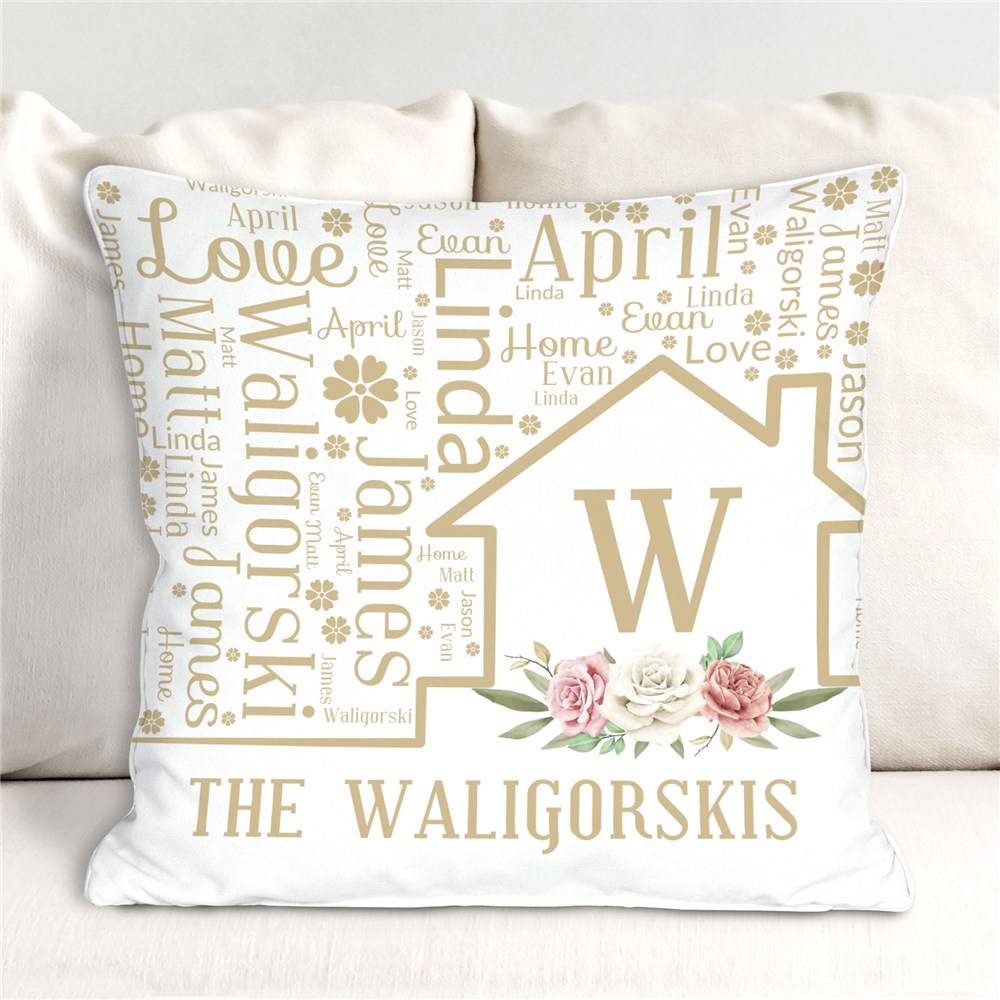 Personalized Floral Home Word Art Throw Pillow