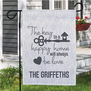 Personalized The Key To A Happy Home Garden Flag