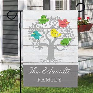 Personalized Family of Birds Garden Flag