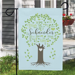 Personalized Family Tree Word-Art Garden Flag