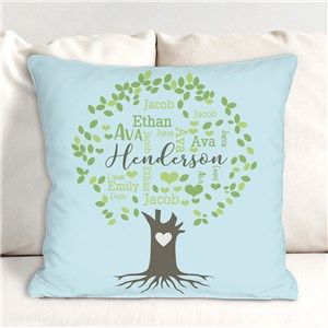 Family Tree Word-Art Throw Pillow