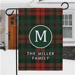 Personalized Plaid Initial & Family Name Garden Flag