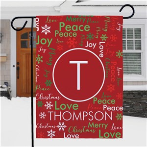 Family Christmas Word Art Flag with Initial