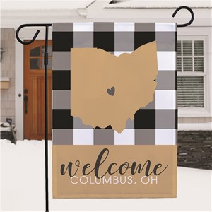 Personalized Plaid Welcome Garden Flag with State Shape