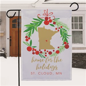 Personalized Home For the Holidays Garden Flag with State Shape
