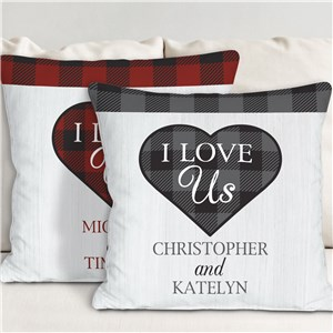 Personalized I Love Us Plaid Throw Pillow 830173083X