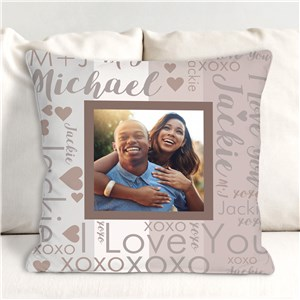 Personalized Couple's Color Block Word-Art Photo Throw Pillow