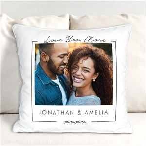 Personalized Love You More Couple's Photo Throw Pillow