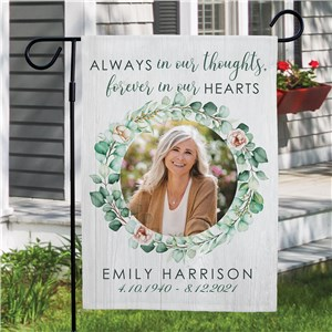 Personalized Always in Our Thoughts Garden Flag