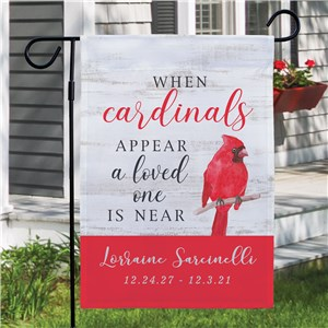 When Cardinals Appear Personalized Memorial Garden Flag