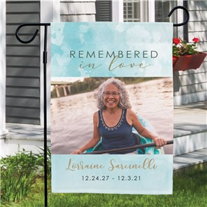 Personalized Remembered in Love Garden Flag