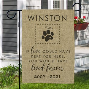 Personalized Dog Paw Burlap Garden Flag