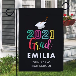 Personalized Colorful Grad Garden Flag with Year