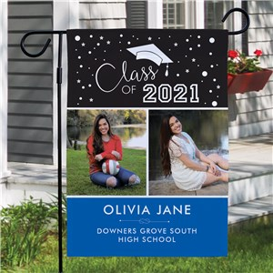 Personalized Class Of with 2 Photos Grad Garden Flag