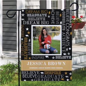 Personalized Graduate Word Art with Photo Garden Flag 830175402X