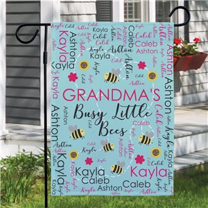 Personalized Busy Bees Word Art Garden Flag