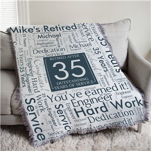 Personalized Retired After Years of Service Word Art 50x60 Afghan Throw 830177855L