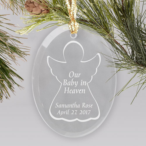 Engraved Baby In Heaven Oval Glass Ornament | Memorial Baby Christmas Ornaments