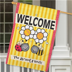 Welcome Bee Garden Flag | Personalized House Flags