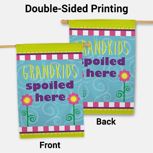 Personalized Grandchildren Spoiled Here House Flag | Personalized Gifts For Grandparents