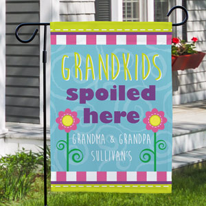 Personalized Grandparents Garden Flag  - Spoiled Here | Grandparents Gifts