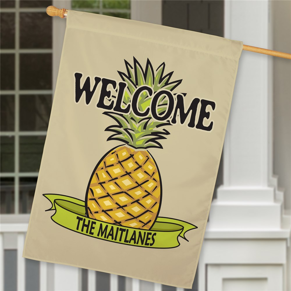 Personalized Pineapple Welcome House Flag | Personalized House Flags
