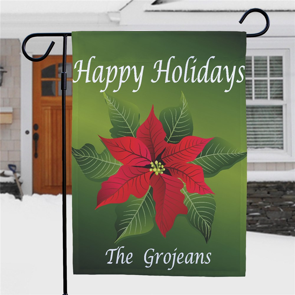 Poinsettia Holiday Garden Flag | Personalized Christmas Flags